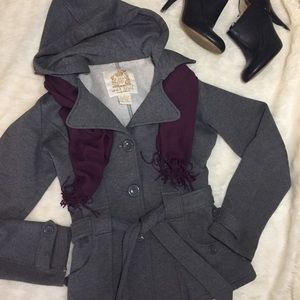 Wet Seal Knit Hooded Gray Midweight Coat with Belt